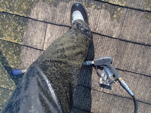 屋根塗装 高圧洗浄 汚れ 飛散
