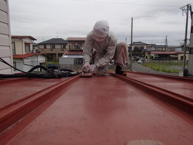 トタン屋根塗装 ケレン作業 集じんカバー