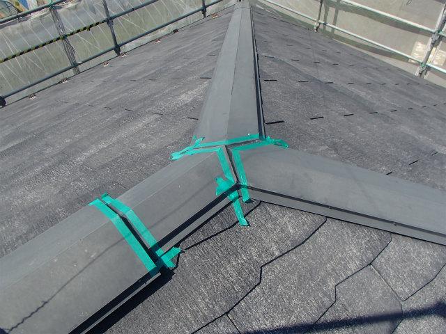 屋根塗装 棟包み シリコーンシーラント処理