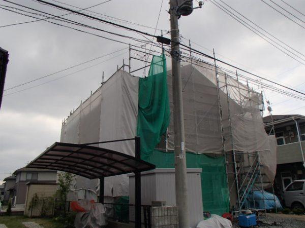 外壁塗装 足場設置 メッシュシート