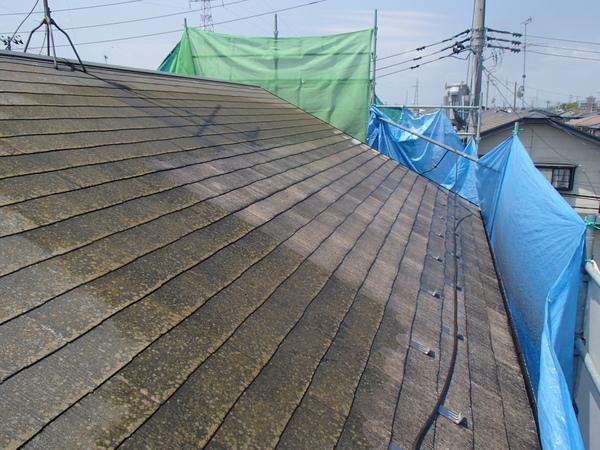屋根塗装 宮城県石巻市 水洗い中 カラーベスト スレート コロニアル