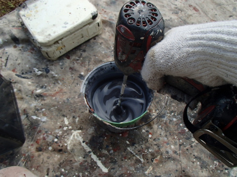 トタン屋根塗装 塗料 撹拌 調合