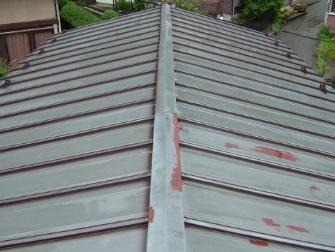 トタン屋根塗装 高圧洗浄後